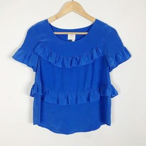 Anthropologie HD in Pairs Blue Tiered Silk Blouse